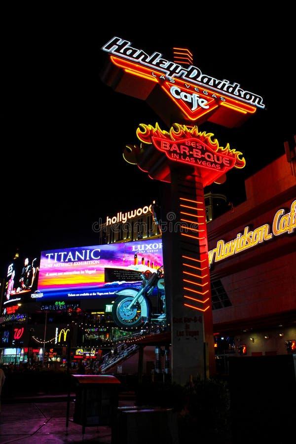 Harley Davidson neonowy znak, Las Vegas, NV. zdjęcie stock