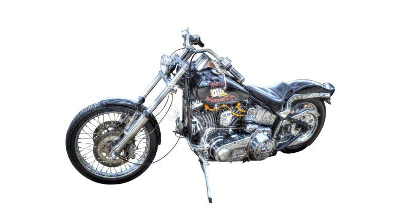 Harley Davidson noir d'isolement sur un fond blanc photo stock