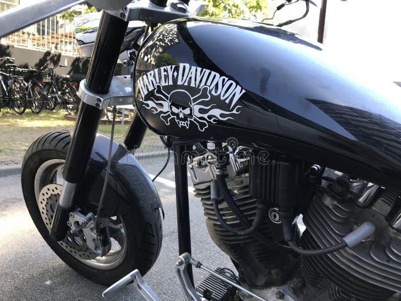 Harley Davidson noircissent la moto avec l'aviron de pirat et les os croisés peints sur le réservoir de carburant Partie dans la  photo libre de droits