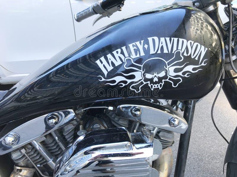Harley Davidson noircissent la moto avec l'aviron de pirat et les os croisés peints sur le réservoir de carburant Partie dans la  image stock