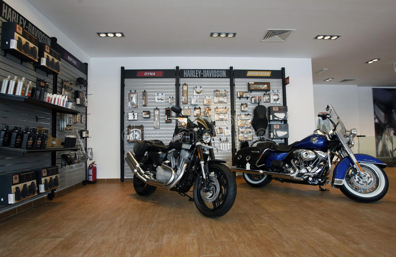 Harley Davidson Shop. Harley Davidson motorcycles are displayed in a new Harley show room stock photos