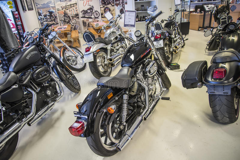 2013 Harley-Davidson, Sportster Super Low. Model: XL883L. Photo is shot in an authorized Harley-Davidson shop in Sarpsborg, Norway one day in March 2014 stock photo