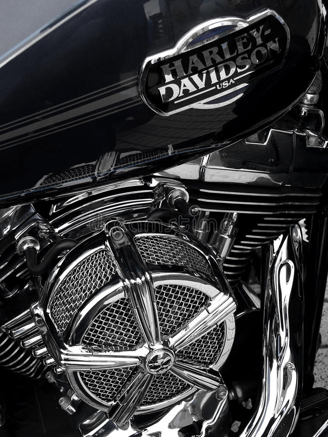 Harley - Davidson. SZCZECIN, POLAND - 16 May 2015: detail and logo of Harley - Davidson on one of the motorcycles during the rally and Motoshow in Szczecin, 16 stock photography
