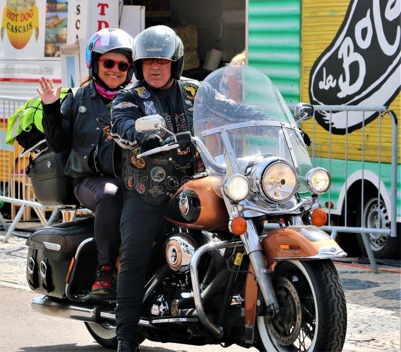 Harley Davidson - 28th årliga europeiska koncentration på Cascais, Portugal arkivfoto