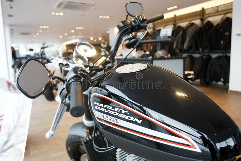 Harley Davidson toont Zaal stock afbeelding