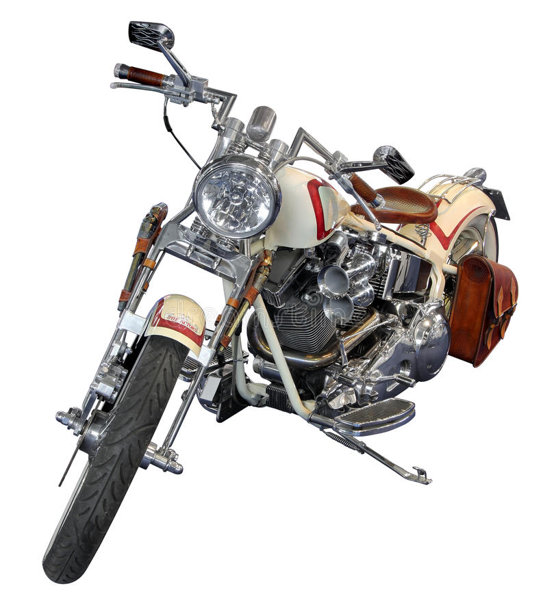 Harley Davidson. ZAGREB, CROATIA-APRIL 12, 2013: Legendary bike Harley Davidson isolated on white background with Clipping Path stock photo