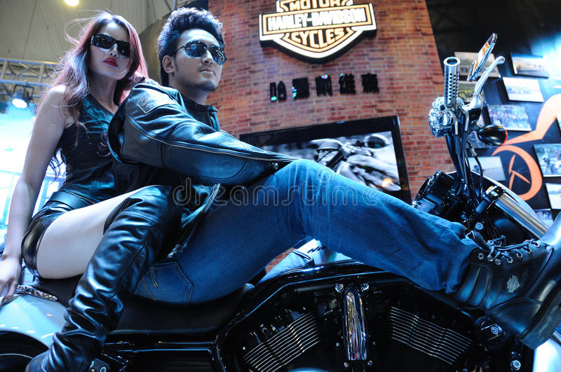 Harley motor bike with model royalty free stock photography