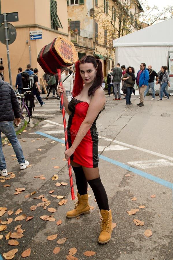 Harley Quinn na banda desenhada de Lucca e nos jogos 2017 fotos de stock royalty free