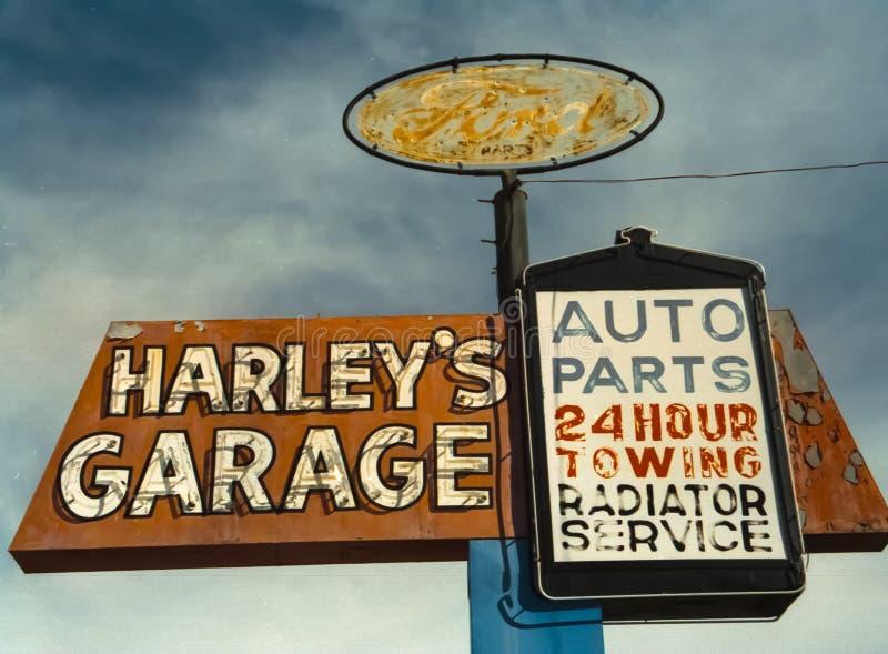 Harleys Garage Sign. Old Harleys Garage sign in Nevada outside Las Vegas stock photos