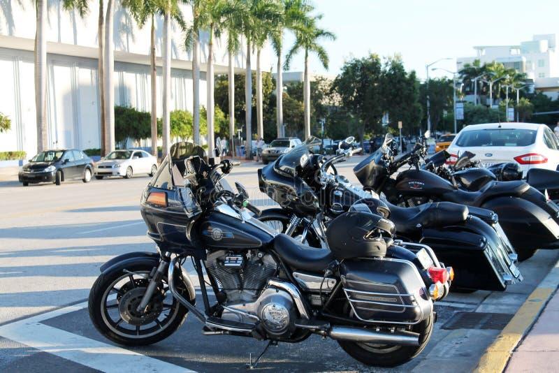 Harleys przy Miami plażą zdjęcie royalty free