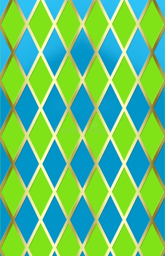 Harliquin azul/verde w/gold ilustração royalty free