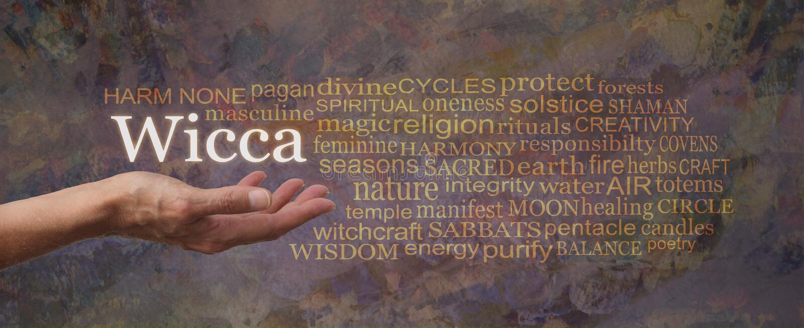 Harm None Wicca Word Tag Cloud stock photo