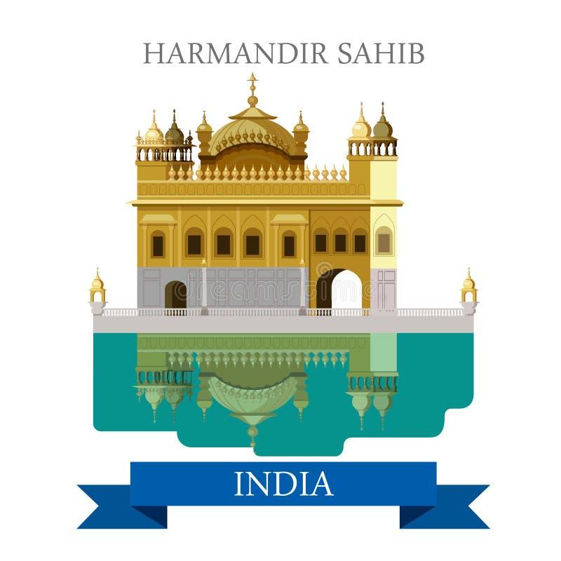Harmandir sahiba sikhism świątynia w India wektorowym płaskim przyciąganiu ilustracja wektor