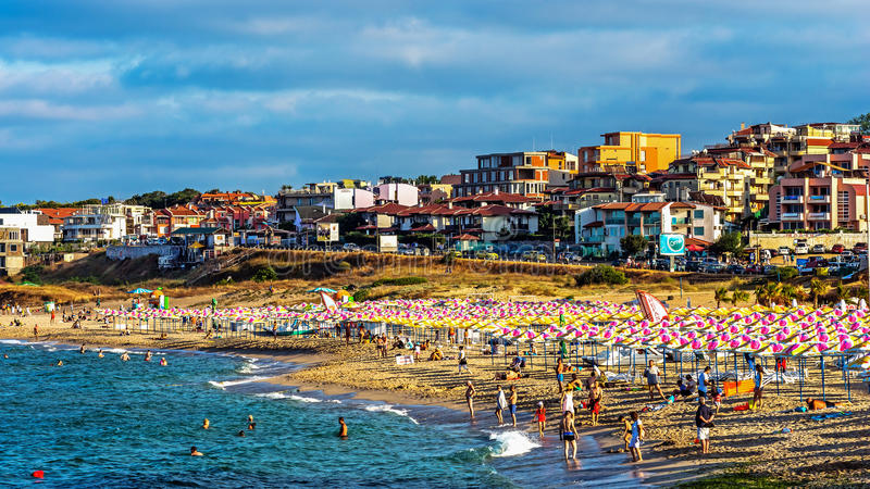 Harmanite beach. In Sozopol, one of the oldest Bulgarian towns founded in the 7th century BC, nowadays one of the major seaside resorts in the country. Taken in royalty free stock photography