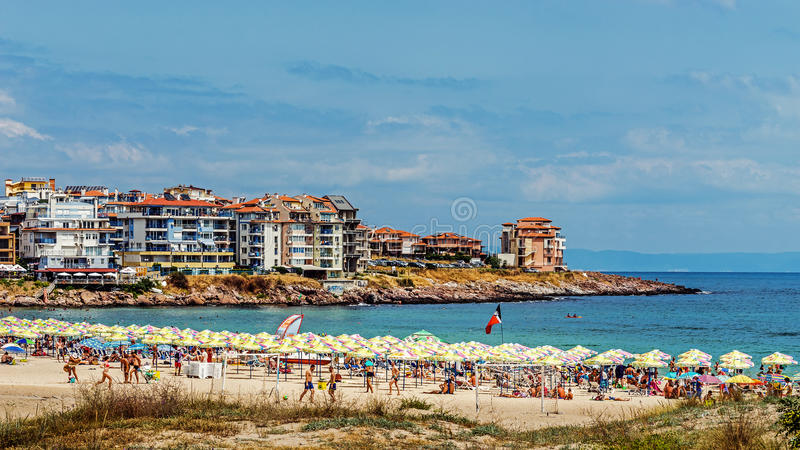 Harmanite beach in Sozopol. One of the oldest Bulgarian towns founded in the 7th century BC, nowadays one of the major seaside resorts in the country. Taken in stock image