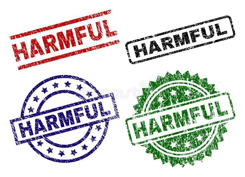 Scratched Textured HARMFUL Seal Stamps. HARMFUL seal prints with corroded texture. Black, green,red,blue vector rubber prints of HARMFUL title with corroded stock illustration