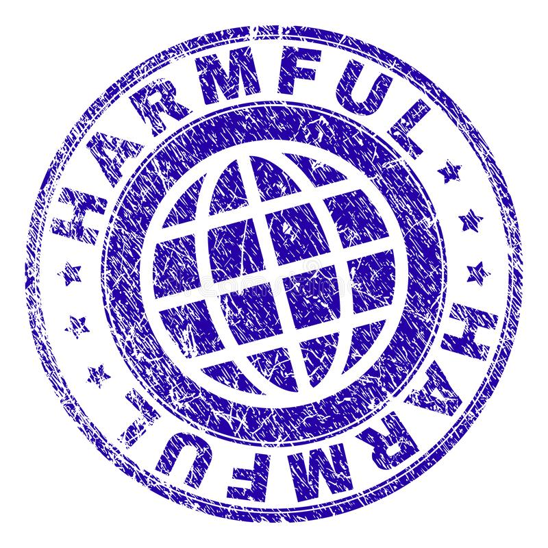 Scratched Textured HARMFUL Stamp Seal. HARMFUL stamp imprint with distress texture. Blue vector rubber seal imprint of HARMFUL text with grunge texture. Seal has royalty free illustration