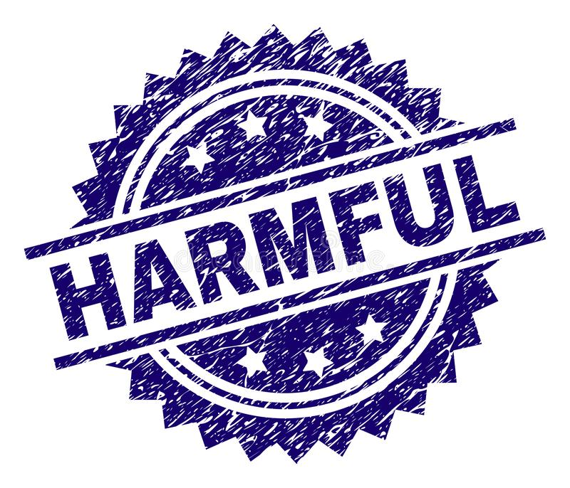Grunge Textured HARMFUL Stamp Seal. HARMFUL stamp seal watermark with distress style. Blue vector rubber print of HARMFUL text with dirty texture royalty free illustration