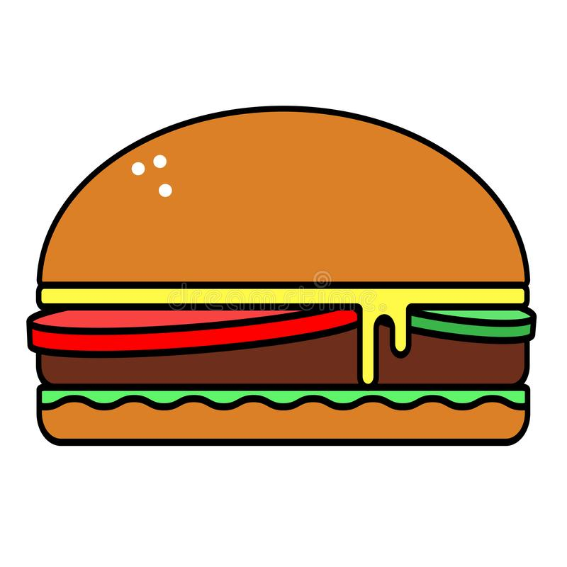 Harmful tasty Burger vector flat icon isolated on white background vector illustration