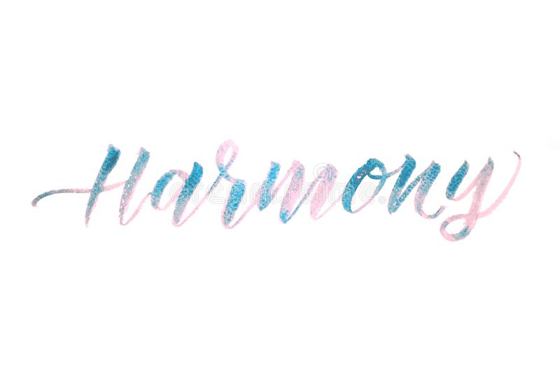 Harmonia da palavra escrita com a aquarela isolada no fundo branco fotos de stock