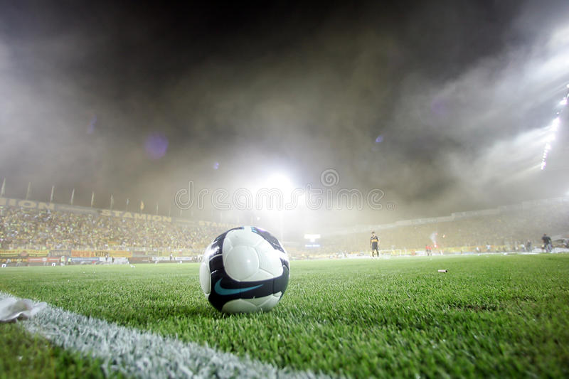 Harmonia de futebol entre Aris e júniors de Boca foto de stock royalty free