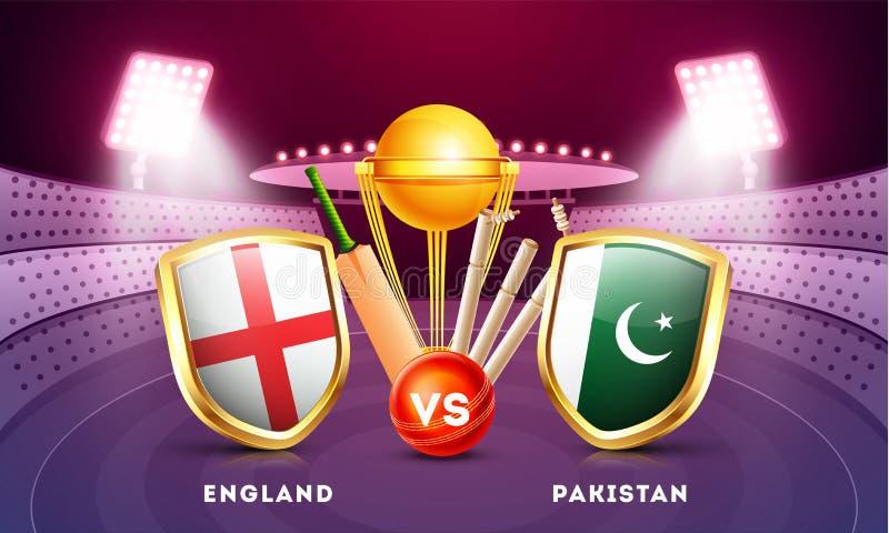Harmonia do grilo entre Inglaterra contra Paquistão com os protetores da bandeira de país e equipamentos de grilo ilustração do vetor