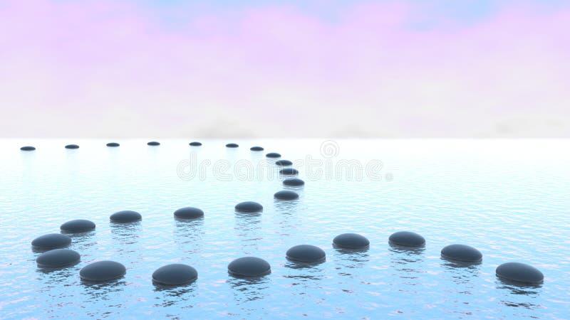 Harmonia. Trajeto do seixo na água ilustração stock