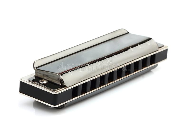 harmonica isolerad white royaltyfria foton