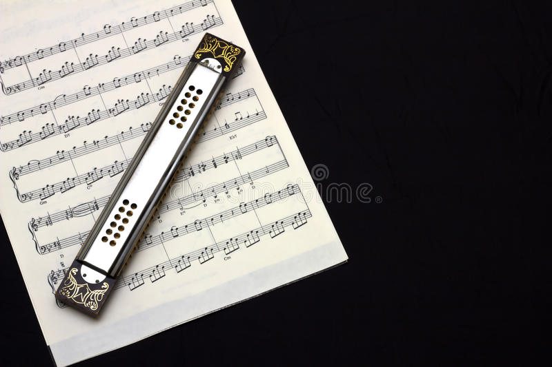 Harmonica on sheet music royalty free stock images