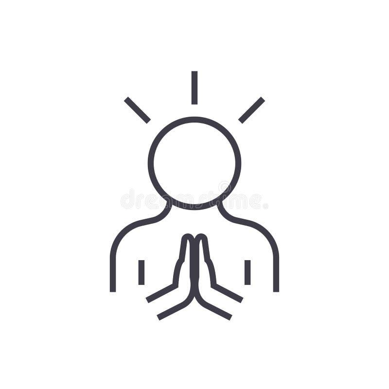Harmonie, ligne icône, signe, illustration de vecteur d'homme de paix sur le fond, courses editable illustration libre de droits