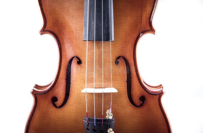 Harmonie, vue de face de violon d'isolement sur le blanc, vintage image libre de droits