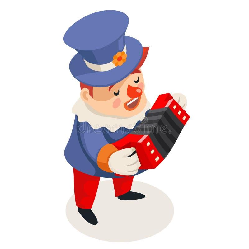 Harmonika accordion music playing singing isometric fun clown icon isolated character design vector illustration royalty free illustration