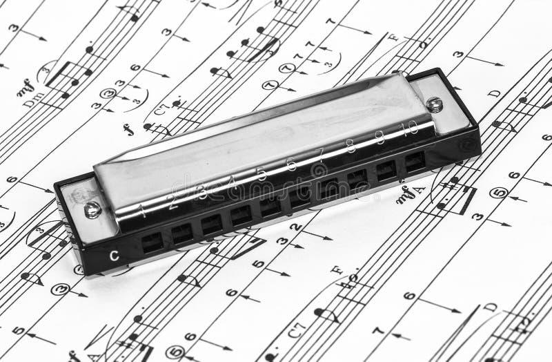 Harmonika auf Noten stockbilder