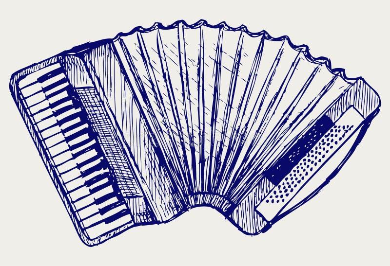 Harmonika. De stijl van de krabbel stock illustratie