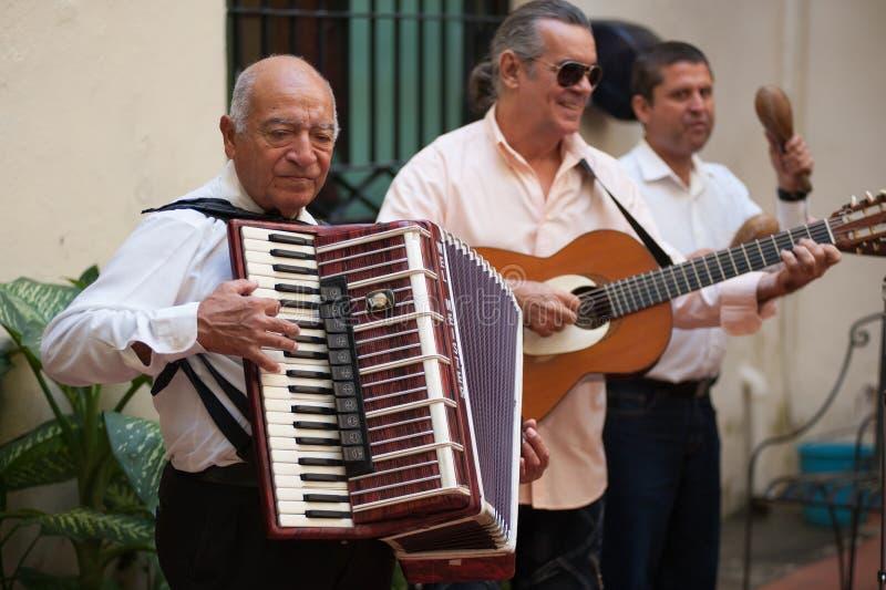 Harmonikaspeler in Havana Cuba stock foto