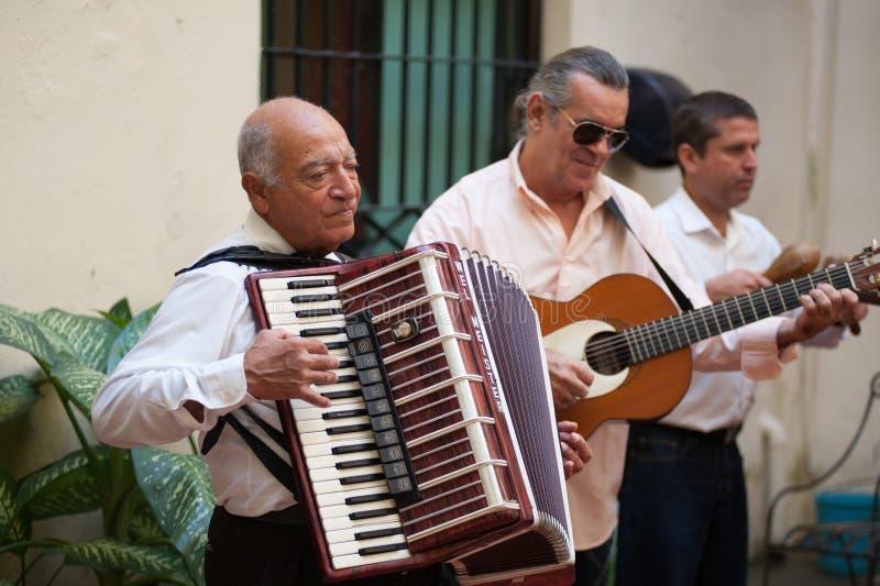 Harmonikaspeler in Havana Cuba royalty-vrije stock afbeelding