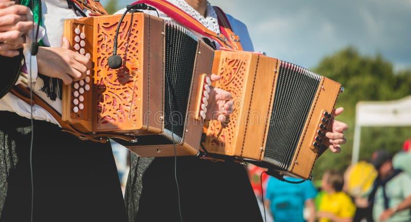 Harmonikaspeler op stadium royalty-vrije stock foto's