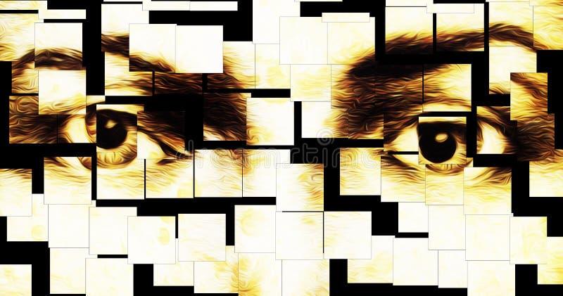 Harmoniska fridsamma andliga ögon, grafisk collage på vit bakgrund full-färg modell royaltyfri illustrationer