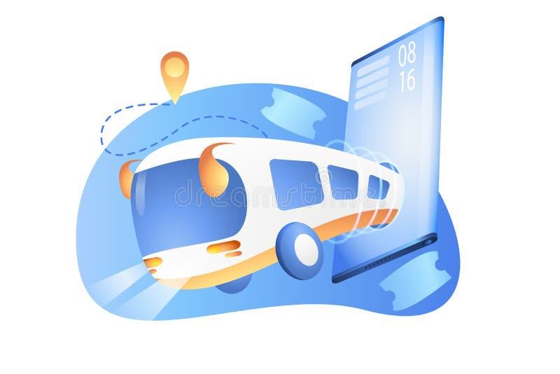Harmonogram magistrali przez telefon Zamawianie biletów autobusowych za pośrednictwem aplikacji mobilnej Autobus miejski ilustracja wektor