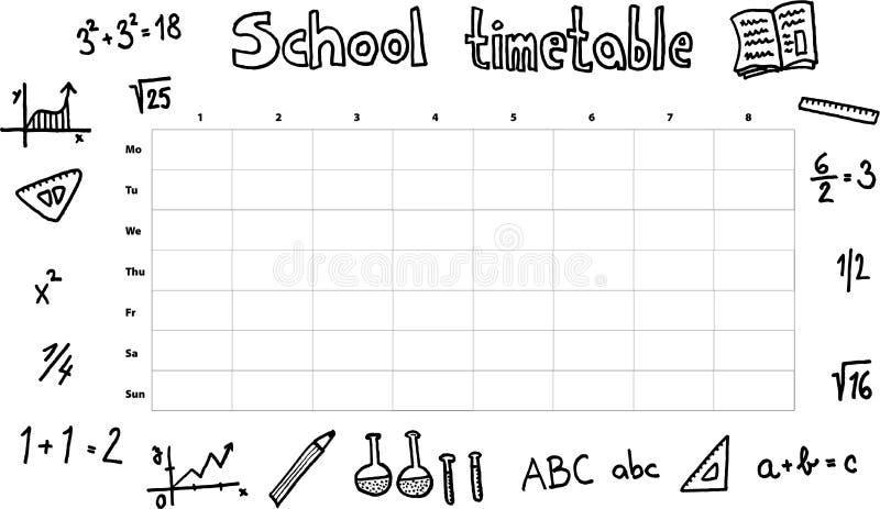 harmonogram szkoły royalty ilustracja