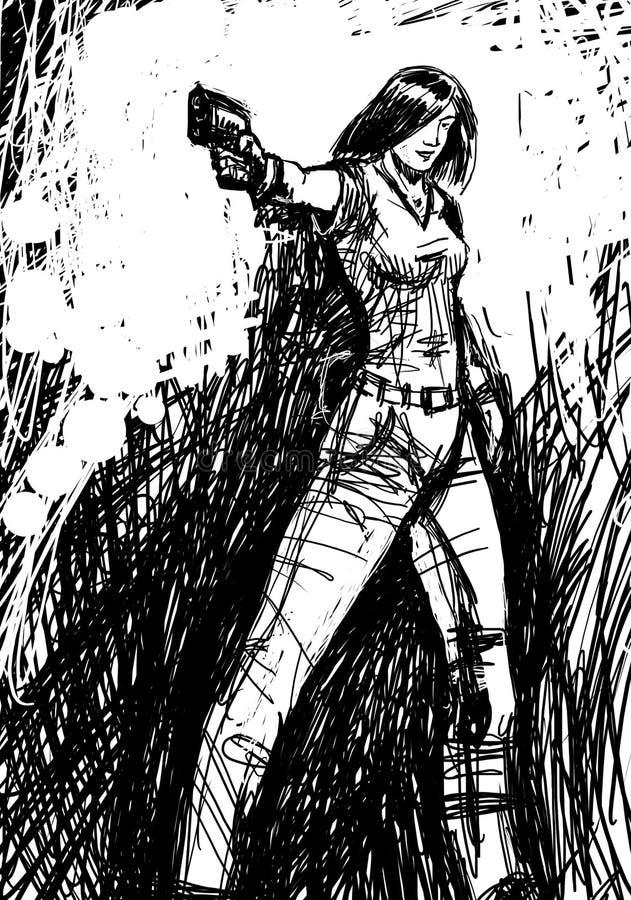 Harmonous flicka som siktar ett vapen royaltyfri illustrationer