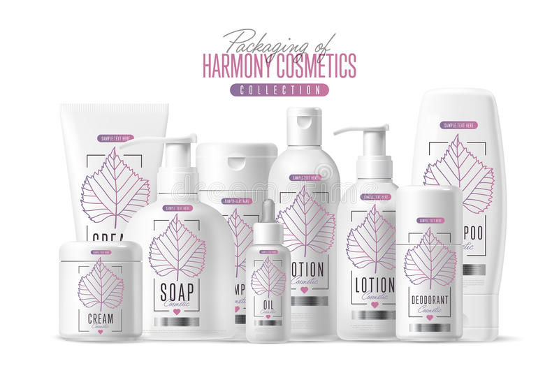 Harmony cosmetic brand template packaging set. Harmony organic cosmetic brand vector packaging template, body care product. Oil, lotion or soap, shampoo, cream royalty free illustration