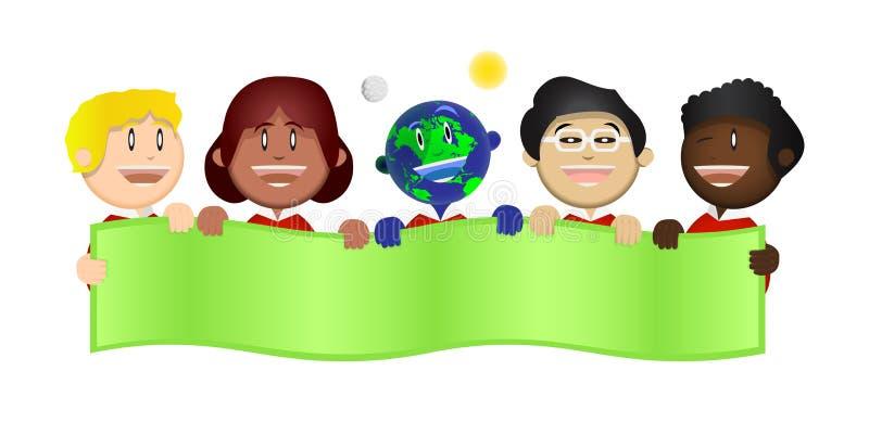 Harmony Kids Save a ilustração da bandeira da terra ilustração stock