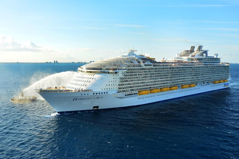 Harmony of the Seas Royal Caribbean Oasis Class. One of the biggest cruise ship in the world, Royal Caribbean, Harmony of the Seas, Oasis class ship, Cruise Line royalty free stock images