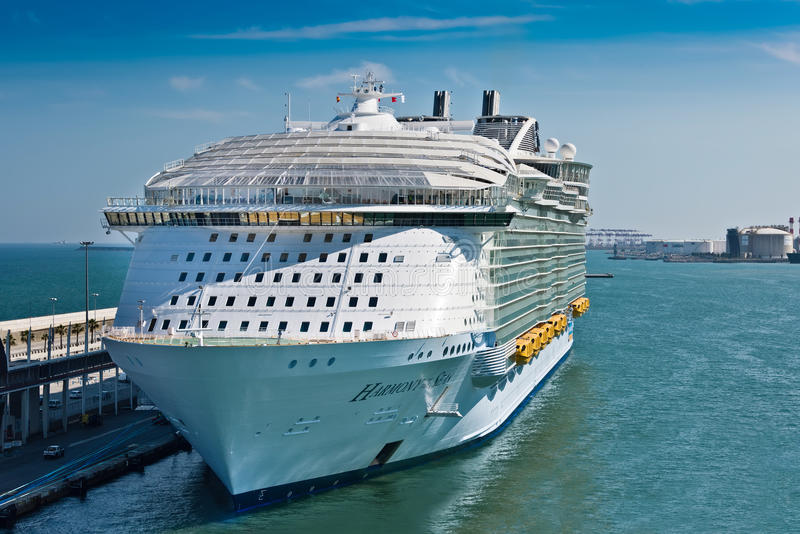 Harmony of the Seas Ship. Barcelona, Spain - June 7, 2016: Royal Caribbean's, Harmony of the Seas, is now the largest ship in the world, with a gross tonnage of royalty free stock photo