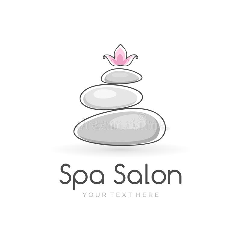 Harmony spa logo template for spa salon with the balancing stones and lotus flower on the top. Logo template for beauty salon, yoga center or spa lounge vector illustration