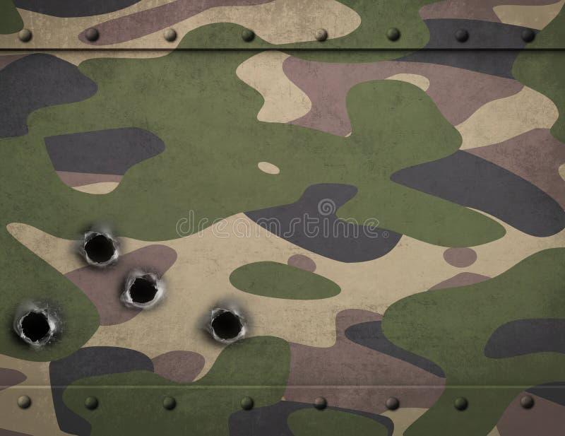 Harnesk för armékamouflagemetall med illustrationen för kulhål 3d vektor illustrationer