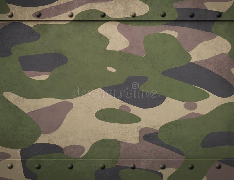 Harnesk för armékamouflagemetall med illustrationen för nitbakgrund 3d royaltyfri illustrationer