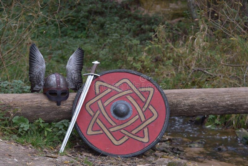 Harnesk och vapen av Viking royaltyfria foton