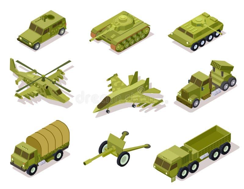 Harneskvapensamling Helikopter och kanon, salvabrandsystem och infanteristridighetmedel, bepansrad lastbil för behållare stock illustrationer